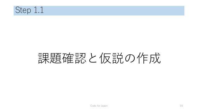 Step 1.1 課題確認と仮説の作成 Code for Japan 35
