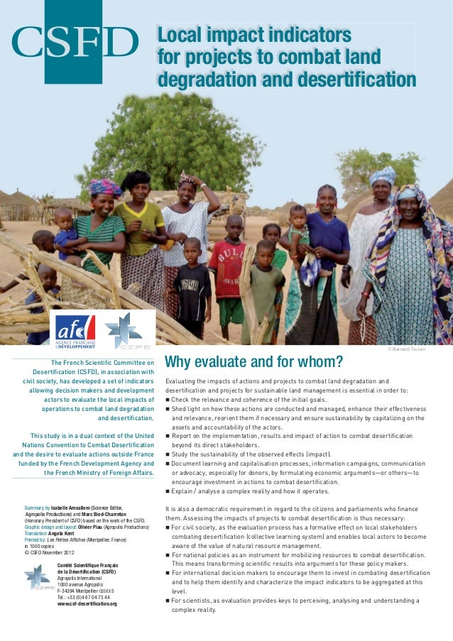 Local impact indicators                                                                      for projects to combat land  ...