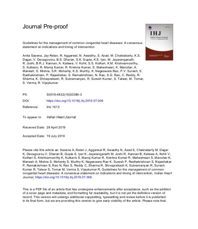 Journal Pre-proof Guidelines for the management of common congenital heart diseases: A consensus statement on indications ...
