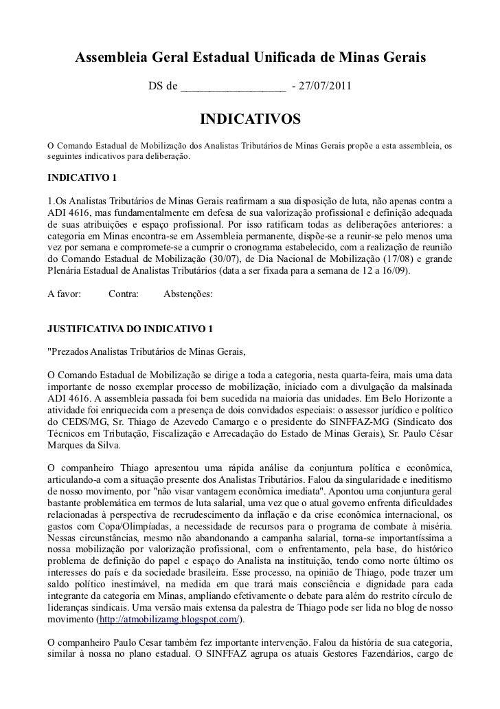 Assembleia Geral Estadual Unificada de Minas Gerais                         DS de __________________ - 27/07/2011         ...