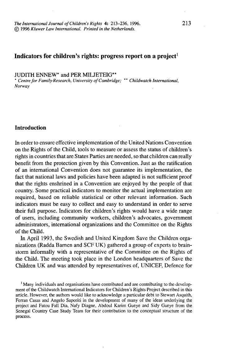 indicators for children s rights 213 indicators for children s rights progress report on a project1 judith