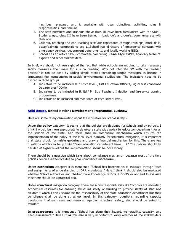 School Disaster Management Plan (SDMP); 25. has ...