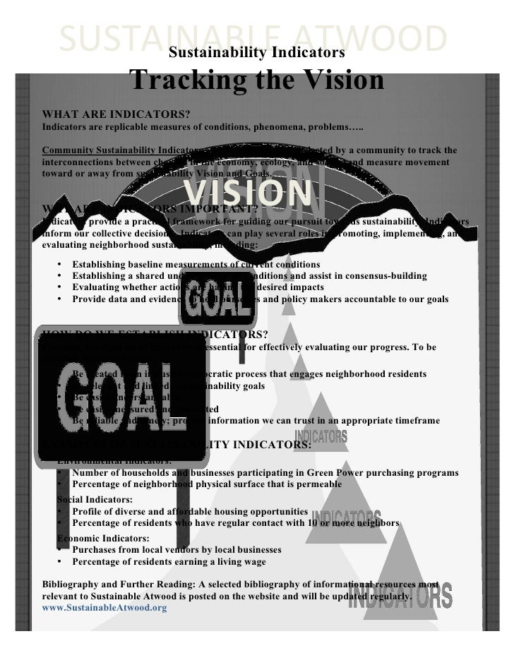 SUSTAINABLE	   ATWOOD	             Sustainability Indicators                      Tracking the Vision WHAT ARE INDICATORS?...