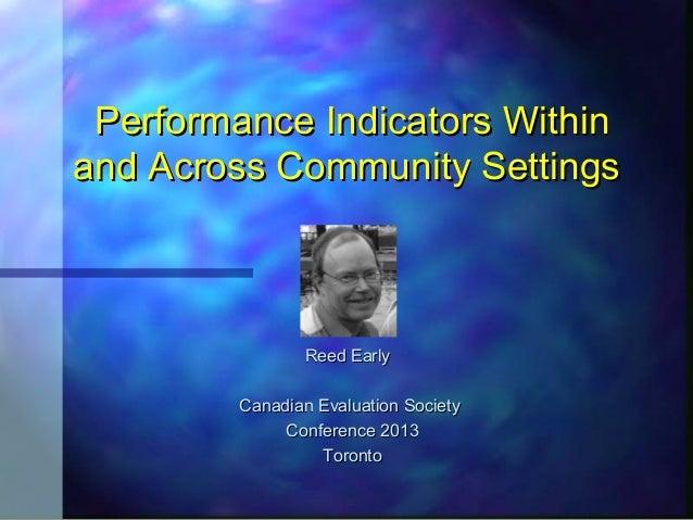 Performance Indicators WithinPerformance Indicators Withinand Across Community Settingsand Across Community SettingsReed E...