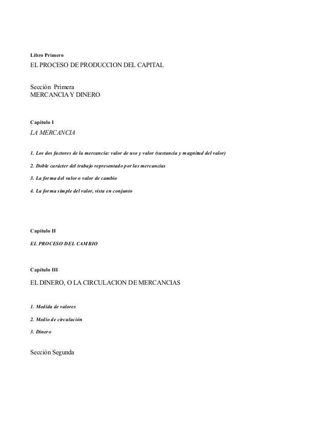 Libro PrimeroEL PROCESO DE PRODUCCION DEL CAPITALSección PrimeraMERCANCIA Y DINEROCapítulo ILA MERCANCIA1. Los dos factore...