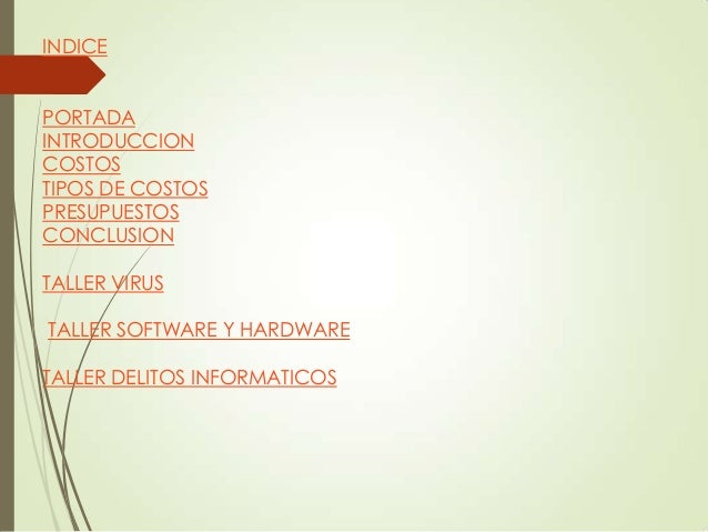 INDICE PORTADA INTRODUCCION COSTOS TIPOS DE COSTOS PRESUPUESTOS CONCLUSION TALLER VIRUS  TALLER SOFTWARE Y HARDWARE TALLER...