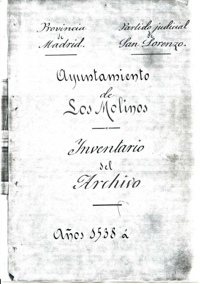 Indice.sección 1ª propios y arbitrios Inventario del Archivo Histórico de Los Molinos