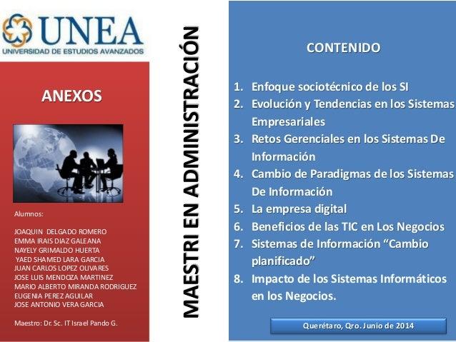 ANEXOS CONTENIDO 1. Enfoque sociotécnico de los SI 2. Evolución y Tendencias en los Sistemas Empresariales 3. Retos Gerenc...