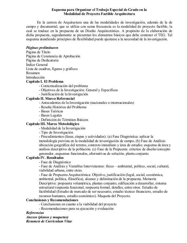 Indice para el trabajo especial de grado de arquitectura for Tesis de arquitectura ejemplos