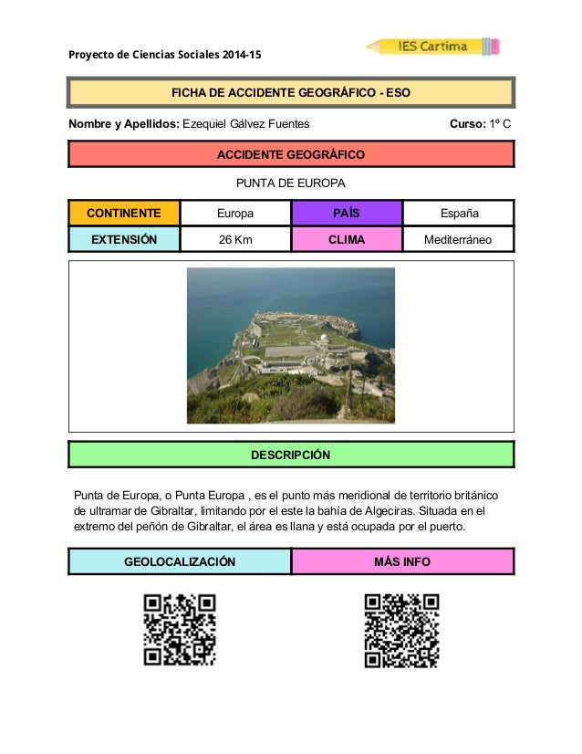 Proyecto de Ciencias Sociales 2014-15  FICHADEACCIDENTEGEOGRÁFICOESO  NombreyApellidos:EzequielGálvez...