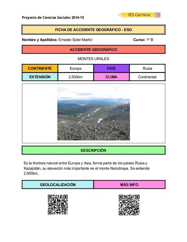 Proyecto de Ciencias Sociales 2014-15  FICHADEACCIDENTEGEOGRÁFICOESO  NombreyApellidos:ErnestoSolerMa...