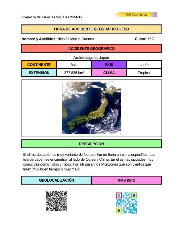 Proyecto de Ciencias Sociales 2014-15  FICHADEACCIDENTEGEOGRÁFICOESO  NombreyApellidos:NicolásMartínC...