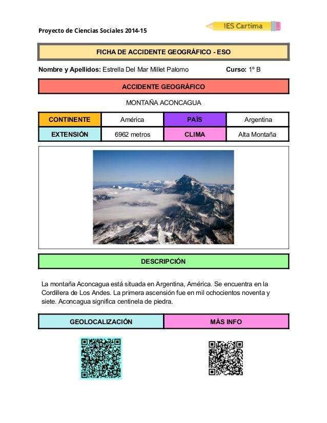 Proyecto de Ciencias Sociales 2014-15  FICHADEACCIDENTEGEOGRÁFICOESO  NombreyApellidos:EstrellaDelMar...