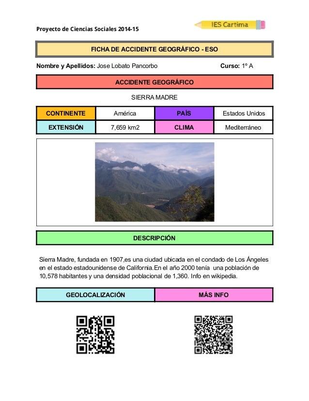 Proyecto de Ciencias Sociales 2014-15  FICHADEACCIDENTEGEOGRÁFICOESO  NombreyApellidos:JoseLobatoPanc...