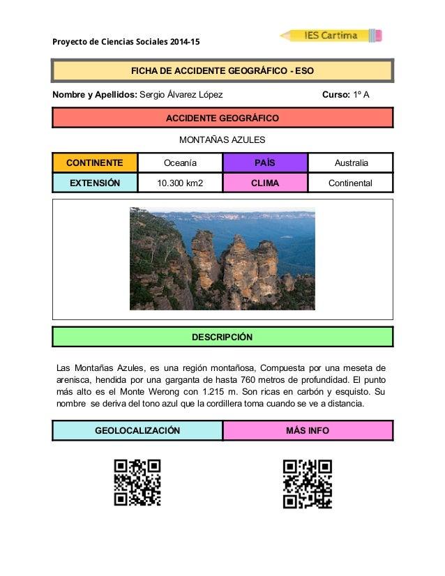Proyecto de Ciencias Sociales 2014-15  FICHADEACCIDENTEGEOGRÁFICOESO  NombreyApellidos:SergioÁlvarezL...