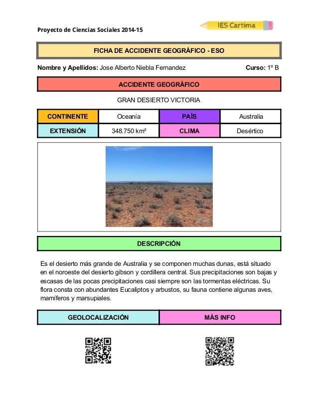Proyecto de Ciencias Sociales 2014-15  FICHADEACCIDENTEGEOGRÁFICOESO  NombreyApellidos:JoseAlbertoNie...