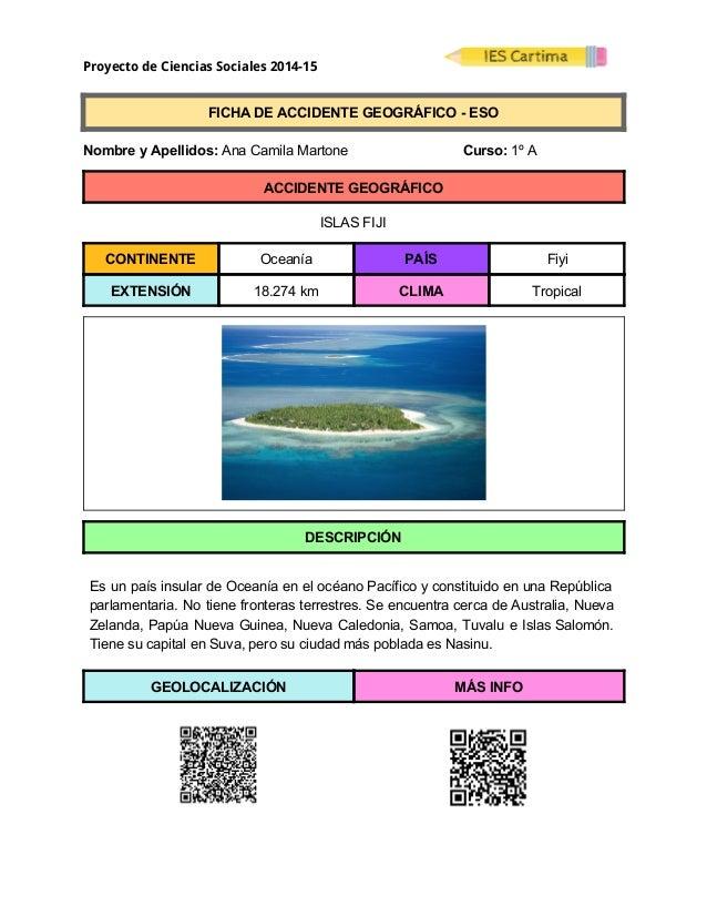 Proyecto de Ciencias Sociales 2014-15  FICHADEACCIDENTEGEOGRÁFICOESO  NombreyApellidos:AnaCamilaMarto...