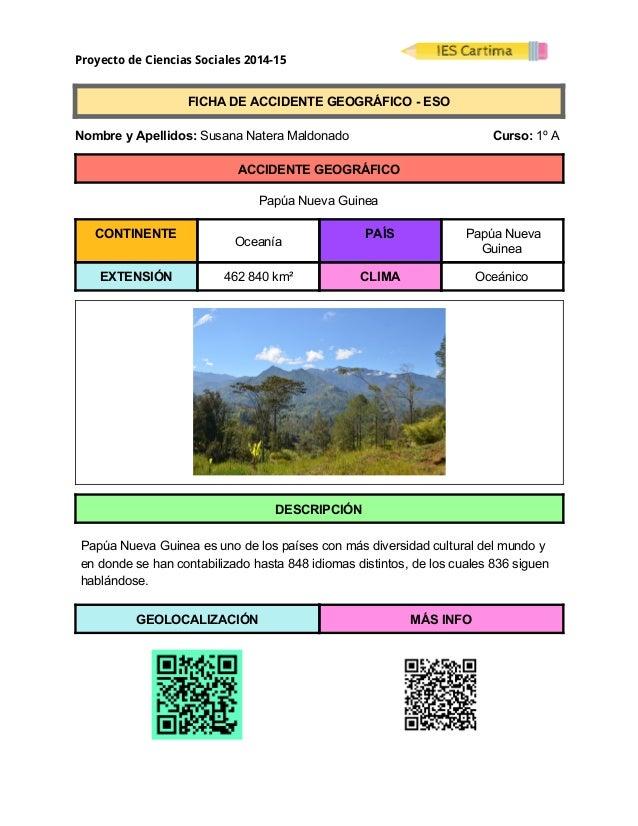 Proyecto de Ciencias Sociales 2014-15  FICHADEACCIDENTEGEOGRÁFICOESO  NombreyApellidos:SusanaNateraMa...