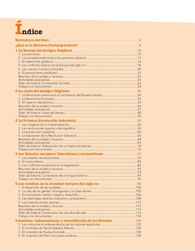 Indice libro Historia del Mundo Contemporaneo de 1