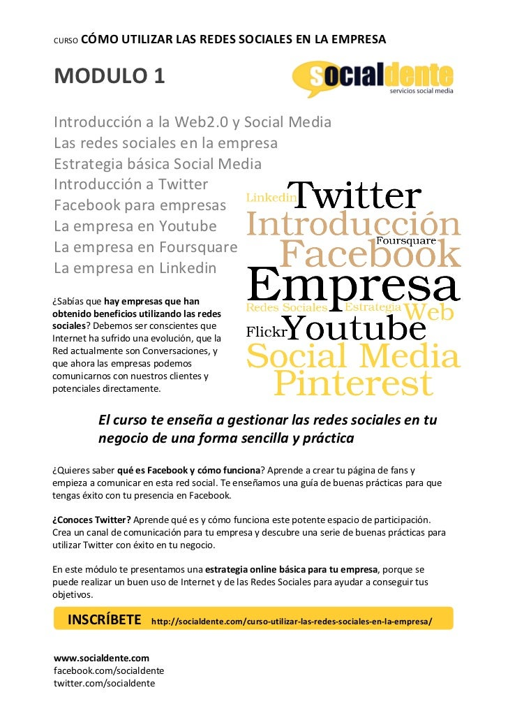 CURSO    CÓMO UTILIZAR LAS REDES SOCIALES EN LA EMPRESA MODULO 1   Introducción a la Web2....