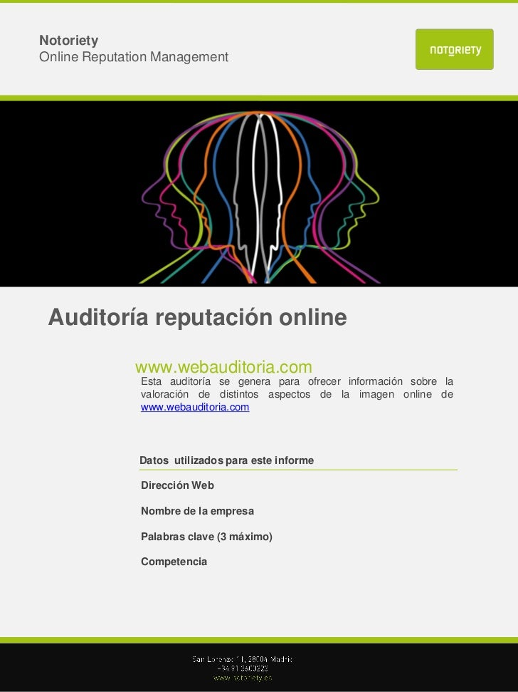 NotorietyOnline Reputation Management Auditoría reputación online              www.webauditoria.com               Esta aud...