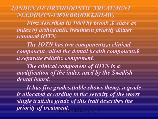 Index of Orthodontic Treatment Need (IOTN)