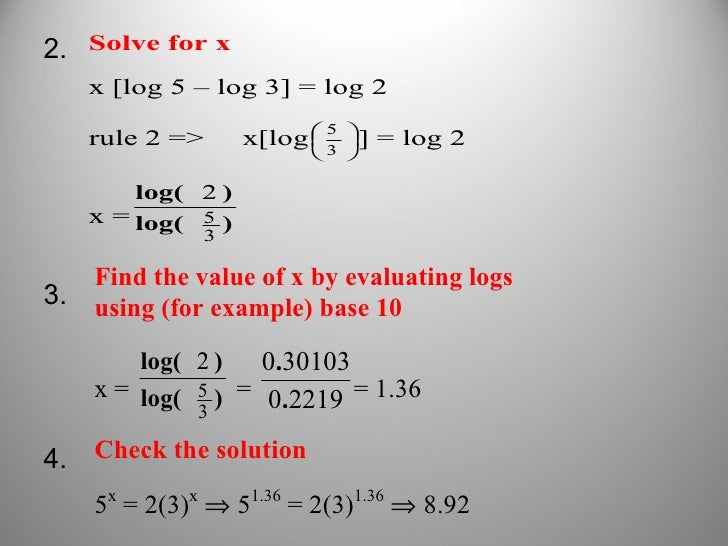how to find the value of a log