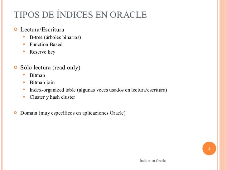 Indices En Oracle on bitmap index