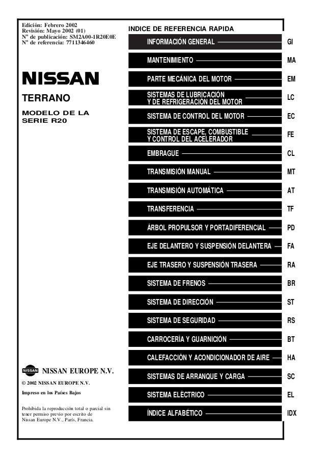indice y referencia rapida rh es slideshare net manual de taller nissan terrano 2005 manual de taller nissan terrano 2