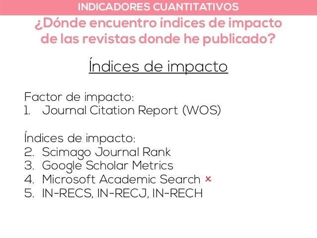 INDICADORES CUANTITATIVOS  ¿Dónde encuentro índices de impacto  de las revistas donde he publicado?  Índices de impacto  F...