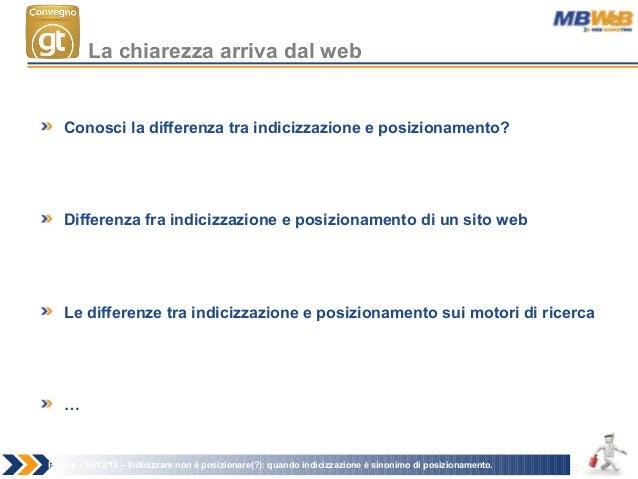 Conosci la differenza tra indicizzazione e posizionamento? Differenza fra indicizzazione e posizionamento di un sito web L...