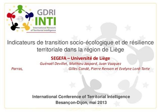 Indicateurs de transition socio-écologique et de résilienceterritoriale dans la région de LiègeSEGEFA – Université de Lièg...