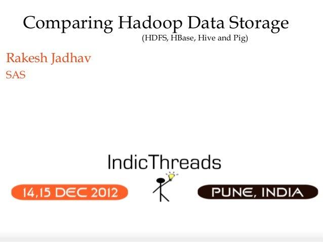 Comparing Hadoop Data Storage                (HDFS, HBase, Hive and Pig)Rakesh JadhavSAS