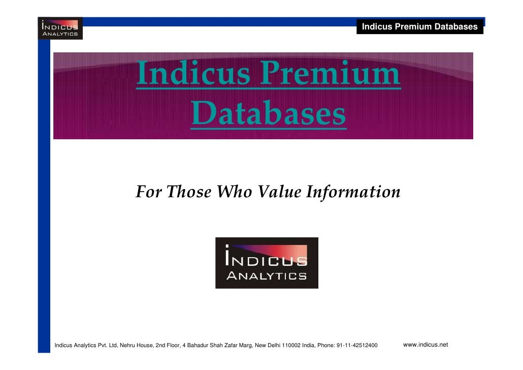 Indicus Premium Databases                                    Indicus Premium                                   Databases  ...