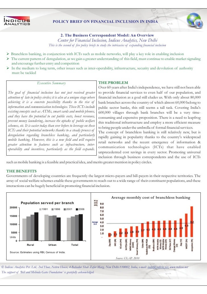 POLICY BRIEF ON FINANCIAL INCLUSION IN INDIA                                                  2. The Business Corresponden...