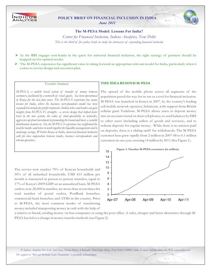 POLICY BRIEF ON FINANCIAL INCLUSION IN INDIA                                                           June 2011          ...