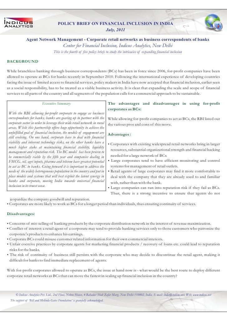 POLICY BRIEF ON FINANCIAL INCLUSION IN INDIA                                                            July, 2011        ...