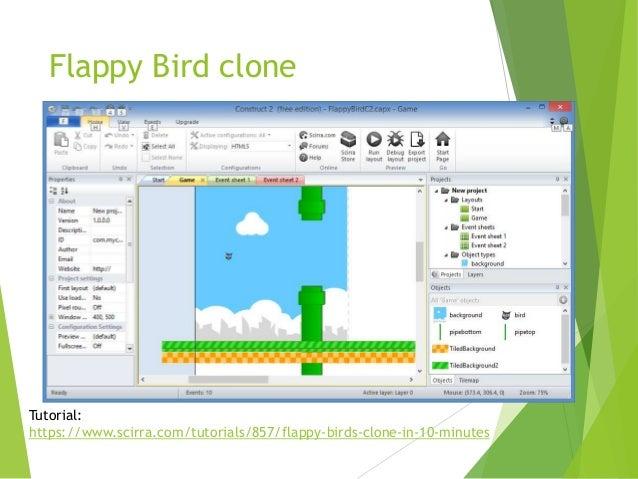 Flappy Bird clone  Tutorial: https://www.scirra.com/tutorials/857/flappy-birds-clone-in-10-minutes