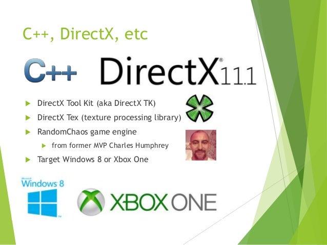 C++, DirectX, etc    DirectX Tool Kit (aka DirectX TK)    DirectX Tex (texture processing library)    RandomChaos game ...