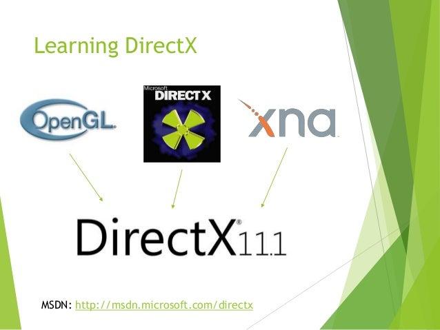 Learning DirectX  MSDN: http://msdn.microsoft.com/directx