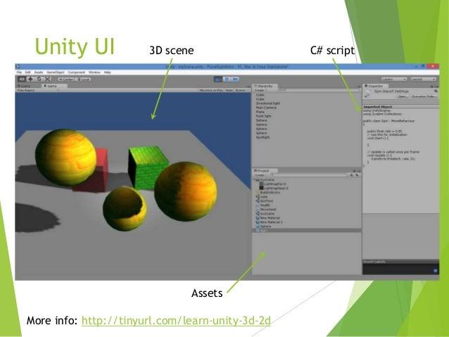 Unity UI  3D scene  Assets  More info: http://tinyurl.com/learn-unity-3d-2d  C# script