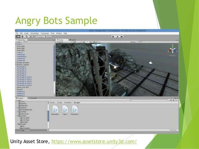 Angry Bots Sample  Unity Asset Store, https://www.assetstore.unity3d.com/