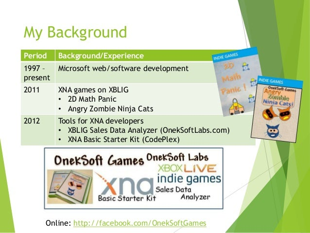 My Background Period  Background/Experience  1997 – present  Microsoft web/software development  2011  XNA games on XBLIG ...
