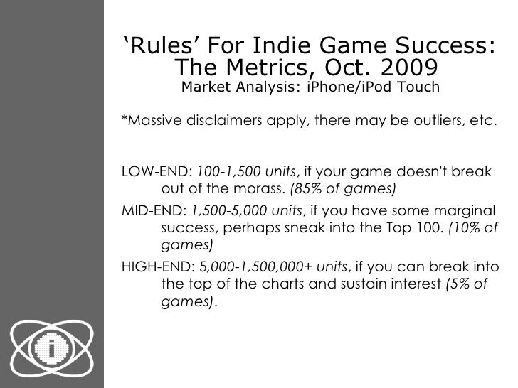 ' Rules' For Indie Game Success: The Metrics, Oct. 2009  Market Analysis: iPhone/iPod Touch <ul><li>*Massive disclaimers a...