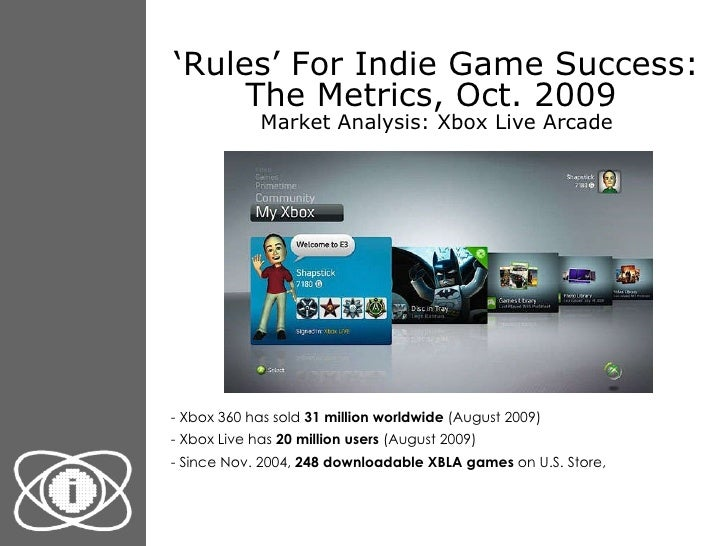 ' Rules' For Indie Game Success: The Metrics, Oct. 2009  Market Analysis: Xbox Live Arcade <ul><li>- Xbox 360 has sold  31...