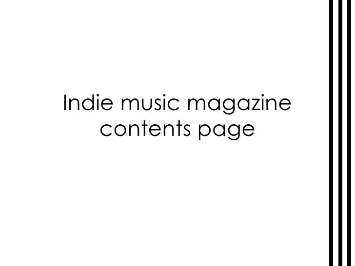 Indie music magazine contents page