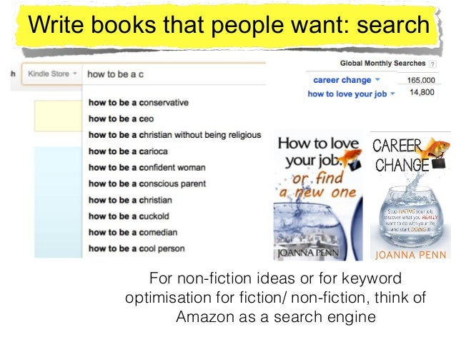 Write books that people want: search For non-fiction ideas or for keyword optimisation for fiction/ non-fiction, think of Ama...