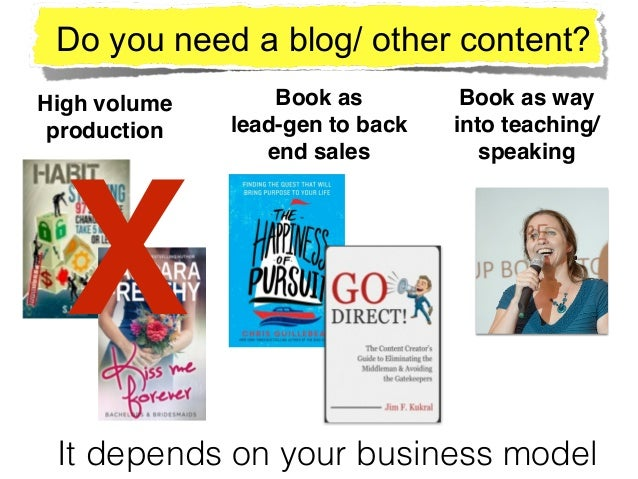 High volume! production Book as ! lead-gen to back end sales Book as way into teaching/ speaking Do you need a blog/ other...