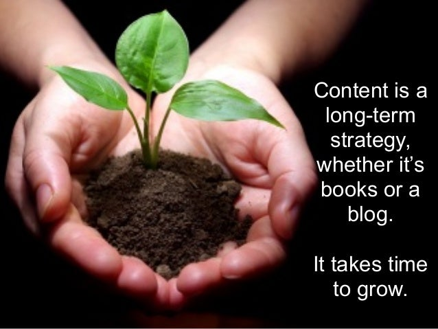 Content is a long-term strategy, whether it's books or a blog. ! It takes time to grow.