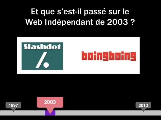 Et que s'est-il passé sur le Web Indépendant de 2003 ?